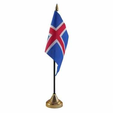 Ijsland tafelvlaggetje 10 x 15 cm met standaard