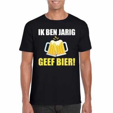 Ik ben jarig geef bier t-shirt zwart heren