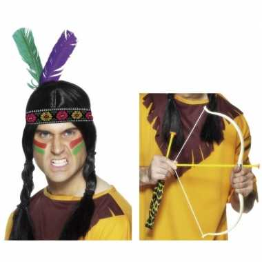 Indianen accessoires verkleedset hoofdband en pijl en boo