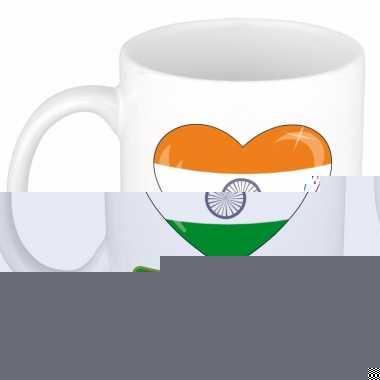 Indische vlag hartje theebeker 300 ml