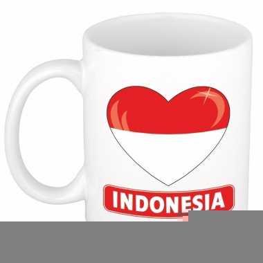 Indonesische vlag hartje theebeker 300 ml