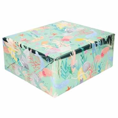 Inpak/cadeaupapier metallic blauw/groen zeemeermin 150 x 70 cm