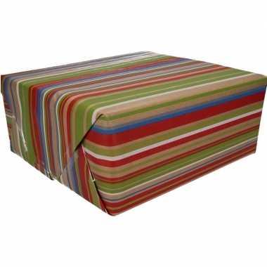 Inpakpapier bruin gekleurde strepen print 200 x 70 cm op rol