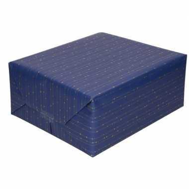 Inpakpapier/cadeaupapier blauw met gouden strepen 200 x 70 cm