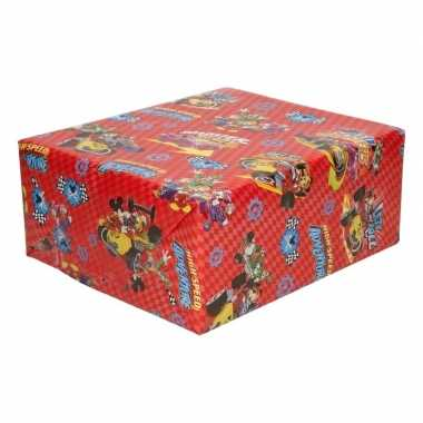 Inpakpapier/cadeaupapier disney mickey mouse 200 x 70 cm rood