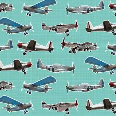 Inpakpapier/cadeaupapier vliegtuigen 200 x 70 cm mintgroen