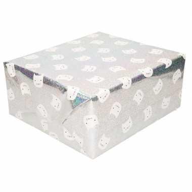 Inpakpapier/cadeaupapier zilver poes/kat 200 x 70 cm op rol