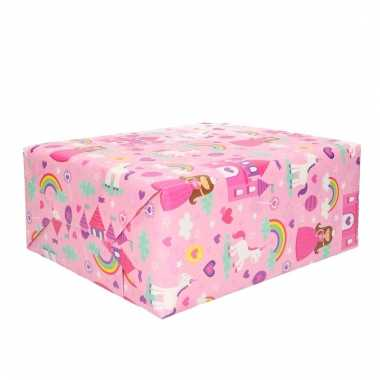 Inpakpapier prinses met eenhoorn 200 x 70 cm trend
