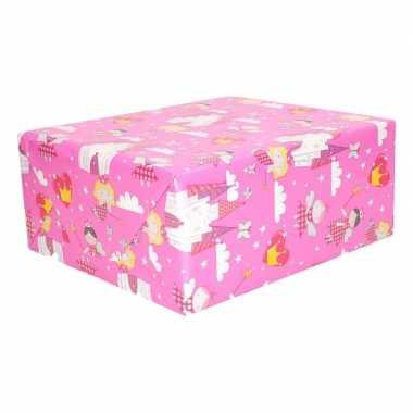 Inpakpapier roze elfjes thema 200 x 70 cm