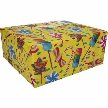 Inpakpapier snoepjes motief 200 x 70 cm op rol