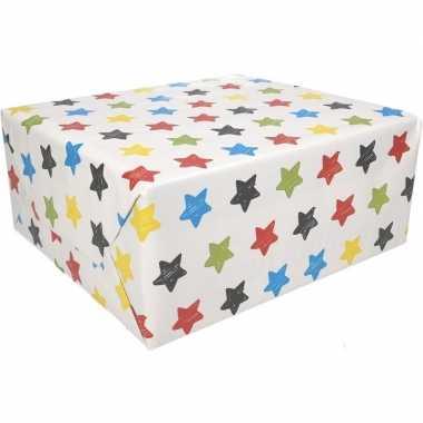 Inpakpapier sterren motief 200 x 70 cm op rol