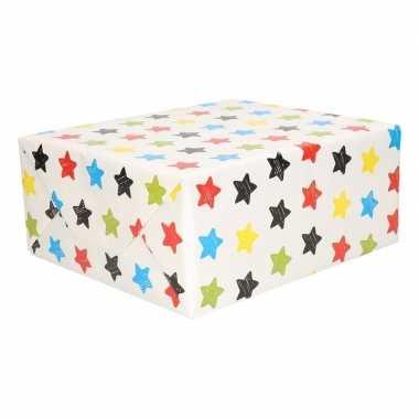 Inpakpapier wit met sterren 200 x 70 cm
