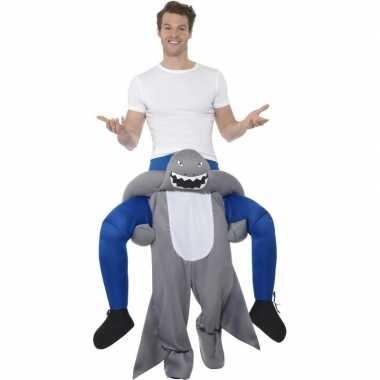 Instap dierenpak kostuum haai voor volwassenen