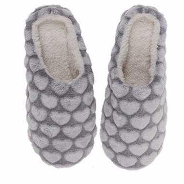 Instap sloffen / pantoffels hartjes grijs voor dames maat 36/37
