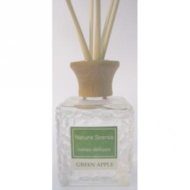 Interieur parfum met geurolie met stokjes groene appel 80 ml