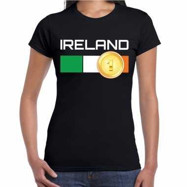 Ireland / ierland landen t-shirt zwart dames