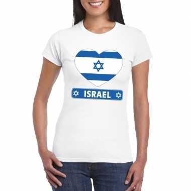 Israel hart vlag t-shirt wit dames