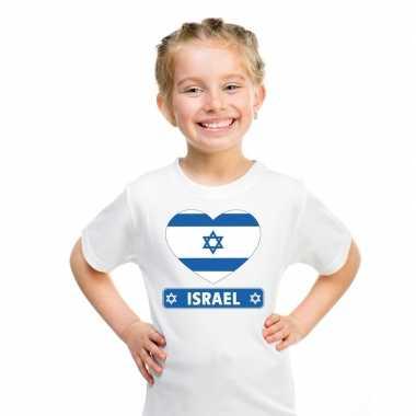 Israel hart vlag t-shirt wit jongens en meisjes