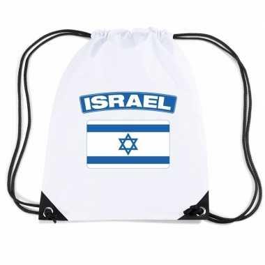 Israel nylon rugzak wit met israelische vlag