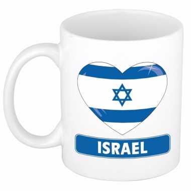 Israelische vlag hartje theebeker 300 ml