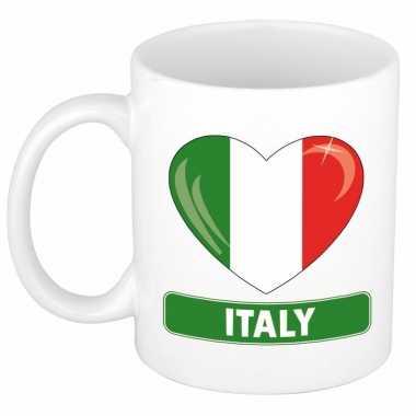 Italiaanse vlag hartje theebeker 300 ml