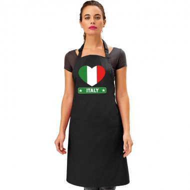 Italie hart vlag barbecueschort/ keukenschort zwart