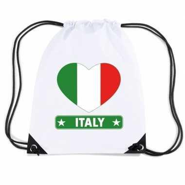 Italie hart vlag nylon rugzak wit
