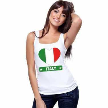Italie hart vlag singlet shirt/ tanktop wit dames