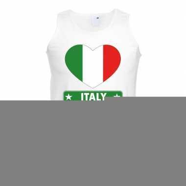 Italie hart vlag singlet shirt/ tanktop wit heren