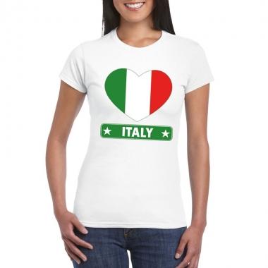 Italie hart vlag t-shirt wit dames