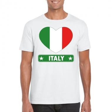 Italie hart vlag t-shirt wit heren