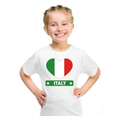 Italie hart vlag t-shirt wit jongens en meisjes