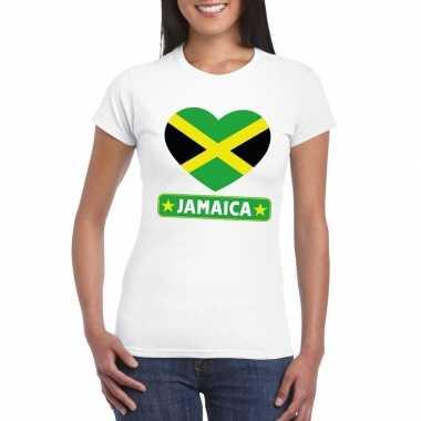 Jamaica hart vlag t-shirt wit dames