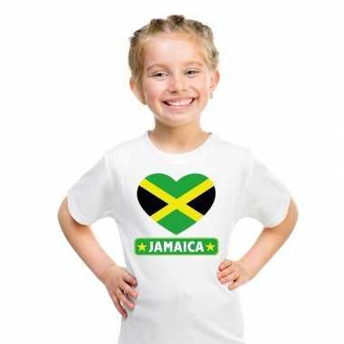 Jamaica hart vlag t-shirt wit jongens en meisjes