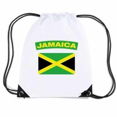 Jamaica nylon rugzak wit met jamaicaanse vlag