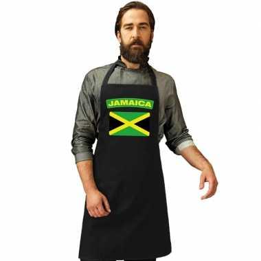 Jamaica vlag barbecueschort/ keukenschort zwart volwassenen