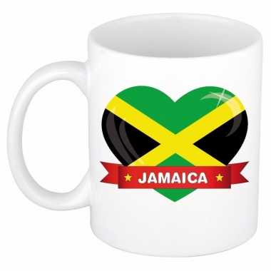 Jamaicaanse vlag hartje theebeker 300 ml