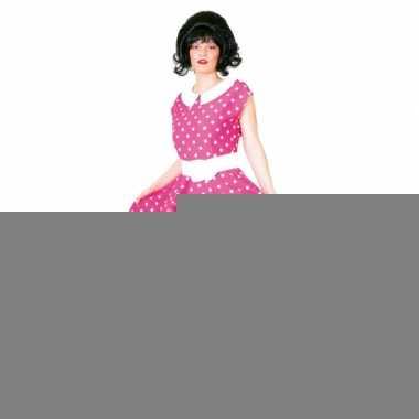 Jaren 50 rock n roll jurk roze/wit