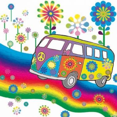 Jaren 60 hippie servetten