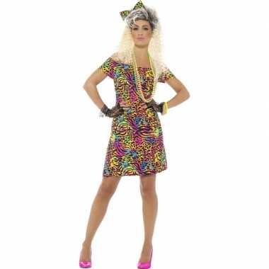 Jaren 80 jurkje neon dierenprint voor dames