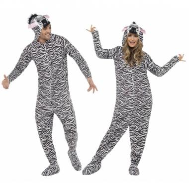 Jumpsuit zebra all-in-one voor volwassenen