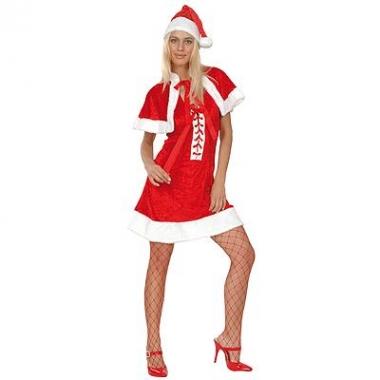 Jurkje kerstvrouw met muts en cape
