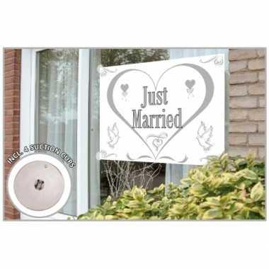 Just married gevelvlag 150 x 100 cm