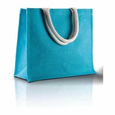 Jute blauwe strandtassen turquoise