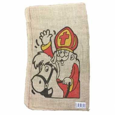 Jute pieten zak 50 x 80 cm voor sinterklaasviering