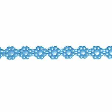 Kaars decoratie lintje blauw met bloemen 24 x 1 cm