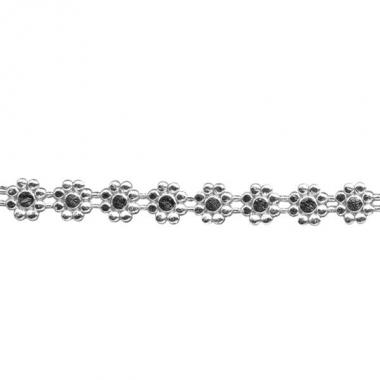 Kaars decoratie lintje zilver met bloemen 24 cm