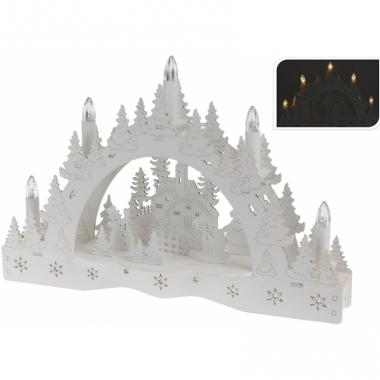 Kaarsenbrug met dorp voor vensterbank
