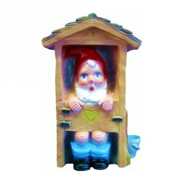 Kabouter beeldje in toilethokje 30 cm