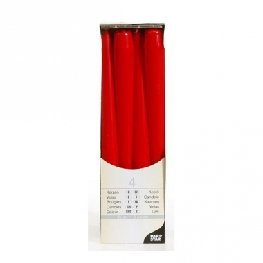Kandelaar kaarsen rood 25 cm
